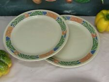 """Corelle by Corning - Two x Dinner Plates in """"Hibiscus"""" Pattern on Beige"""