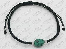 925 Sterling Silver Turquoise Stone Macrame Cord Friendship Bracelet Women Men