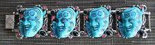 rare vtg. SIGNED SELRO Devil Noh TURQUOISE BLUE Buddha Selini plastic