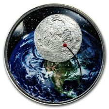 2019 1 oz Silver 50th Anni. Moon Landing Colorized Curved Proof Coin: Box & COA