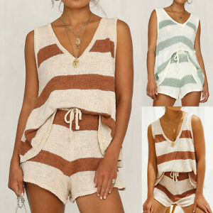 UK Womens 2pcs Knitted Vest Tank Top + Shorts Set Casual Tracksuit Lounge Wear