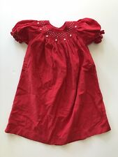 Mom & Me Dress Christmas Red White Pearls 100% Cotton Short Sleeve Girls 2T