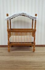 Dollhouse Miniature Canopy Crib Walnut Finish 1:12 Scale Nursery Furniture