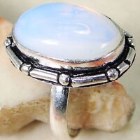 Opalite & 925 Silver Handmade Fashionable Ring Size 8.5 & gift box