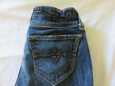 SANG REAL Sz 26 (27x30) Jeans Embellished Back Pockets Dark Blue Denim