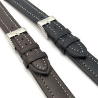 Lightly Padded XL Leather Watch Strap Contrast Stitched 16mm 18mm 20mm C010