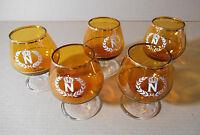 cinco vintage copas Napoleón, cristal ambar, brandy, cognac...