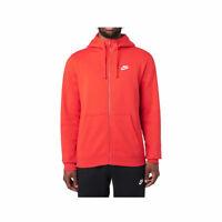 Nike Men's Sportswear NSW Fleece Full Zip Club Hooded Sweatshirt Red