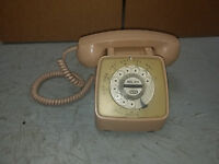 Vintage Beige Automatic Electric Bell System Rotary Dial Telephone Phone