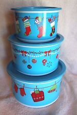 Tupperware CHRISTMAS HOLIDAY HANGOUT STACKING CANISTERS ~ Set of 3 ~ BRAND NEW!