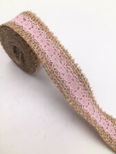 2M Lace Burlap Ribbon Natural Jute Hessian Wedding Party width 2.5cm pink