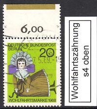 52) Berlin Nr 323 gest. WFZ s4 oben Wohlfahrtszähnung Farbrandstreifen grün f4