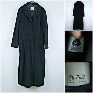 GIL BRET Vintage Womens Black Trachten Tyrol Wool Long Coat SIZE UK20, XL