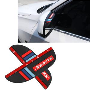 Car Side Mirror Rain Eyebrow Visor Rear 2pcs Guard Sun Black Accessories