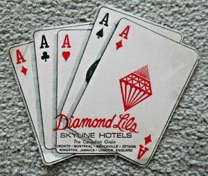 VINTAGE DIAMOND LILO SKYLINE HOTELS BEER MAT 1970's THE CANADIAN CHAIN RARE J982