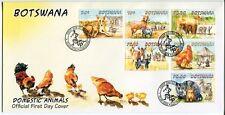 BOTSWANA STAMP 2014 DOMESTIC ANIMALS DOG/CAT/CHICKEN/COW FDC