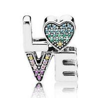 925 Sterling Silver Multi-Color Love Charm Multi-Colored CZ European Bead New