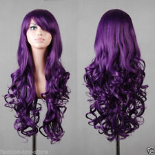 FIX427 new style New Long Curly Dark Purple wig Cosplay Hair Wigs for women