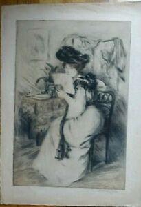 MANUEL ROBBE (1872-1936) PEINTRE GRAVEUR - FEMME A L'ECHARPE POINTE SECHE