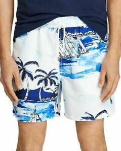 Polo Ralph Lauren Sailboat Tropical Print Swim Trunks Mens Medium w/Pouch $168
