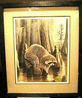Vintage Double Signed & Num Lithograph Arthur Singer Raccoon Cypress Swamp frame