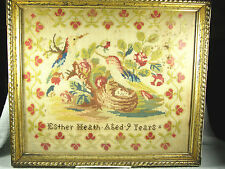 Circa Early 1800 Hand Made Needlepoint Sampler -Birds & Nest -Esther Heath Age 9