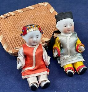 Antique Chinese Bisque Jointed Dolls Pair Silk Traditional Dress & Basket Box