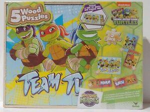 Teenage Mutant Ninja Turtles Wood Puzzles Set of 5 w/ Storage Box Nickelodeon