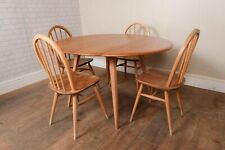 Vintage Retro Ercol Light Elm Oval Drop Leaf Table and 4 Windsor Chairs