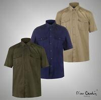 Mens Pierre Cardin Lightweight Military Short Sleeve Shirt Sizes from S to XXXL