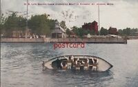 US Life Saving Crew Capsizing Boat in Harbor St Joseph MI c1910 mailed to Smith