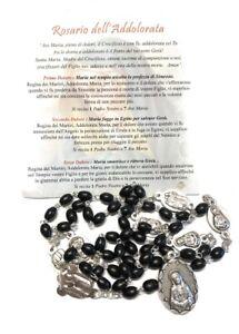 Corona da Rosario della Madonna Addolorata in legno nero - Made In Italy