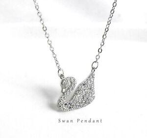 Titanium Pave Cubic Zirconia Silver White Swan Pendant Chain Necklace