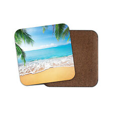 Tropical Beach Drinks Coaster - Sand Sun Holiday Palm Tree Fun Cool Gift #8557