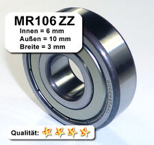 10 Stk. Kugellager 6*10*3mm Da=10mm Di=6mm Breite=3mm MR106ZZ Radiallager