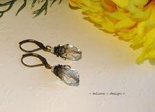 Ohrringe Bronze Kristall Tropfen KRISTALL  klar  Vintage Burlesque  +handmade+
