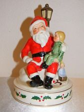 Vintage 1969 Schmid Santa Claus w/Child Wind Up Musical Hand Painted Figurine!!!