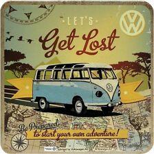 VW Bulli Bus Get Lost Blech Untersetzer 9 x 9 cm Metall Tin Sign USE43