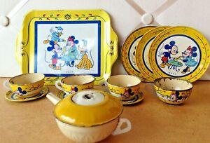 Vintage J Chein Tin Litho Tea Set -  Walt Disney Productions - Mickey, Minnie, +