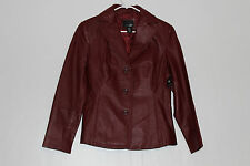 East 5th Womens Size Petite Small Dark Red Leather 3 Button Jacket Coat NEW