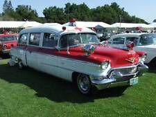 Old Photo. Red/White 1956 Cadillac Meteor Ambulance at Auto Show