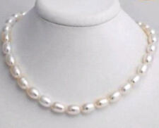 Hot sell ! Beautiful 7-8mm white freshwater pearl rice necklace 17.5 inches