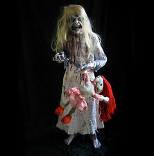 Lifesize Standing Zombie Little Girl & doll Scary Haunted House Halloween Prop