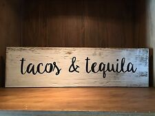 Tacos & Tequila Rustic Wood Sign, tiki bar, Mexican, kitchen, FREE SHIPPING!