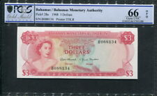 Bahamas 1968, 3 Dollars, P28a, PCGS 66 OPQ GEM UNC