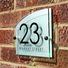 Harriston | Modern House Sign Door Number Name Plaque | Aluminium Glass Effect