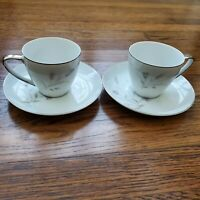 "Mikasa Ardley Tea Cup Saucer 6"" Plates Set of 2 Japan Silver Trim Fine China Vtg"