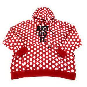 Nike Men's Sportswear JDI AOP Red White Polka Dot Hoodie BV5529-657 Size XXL