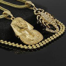 "14k Gold Plated Pharaoh & Scorpion Cz Bundle Pendant 2 24"" Franco & Free Chain"
