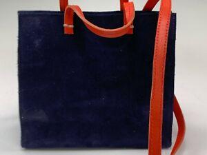Clare V. Blue Suede Handbag w/ Red Straps & Removable Shoulder Strap